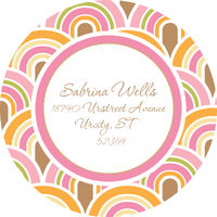 Pastel Waves Round Address Label