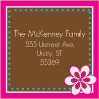 Fuchsia Flower Return Address Label