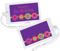 Bright Daisies Purple Luggage Tag