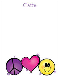 Peace Heart Smiley White Large Notepad