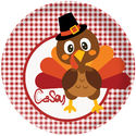 Red Gingham Turkey Plate
