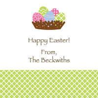 Multicolor Eggs and Basket Easter Sticker