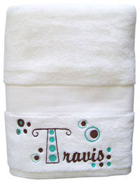 Retro Dots Embroidered Towel Brown