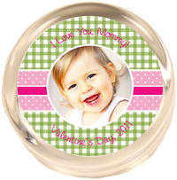 Green & Pink Gingham Photo Paperweight PWR455