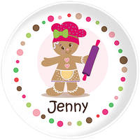 Gingerbread Dots Girl Plate
