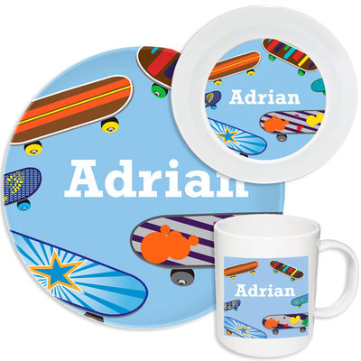 Cool Skateboards Melamine Set  sc 1 st  Script and Scribble & Cool Skateboards Melamine Set | Kids Dinnerware | Personalized ...