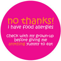 No Thanks Pink Allergy Alert Vinyl Sticker