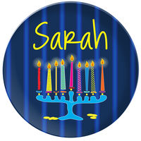Glowing Menorah Plate