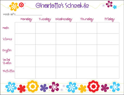 Flower Power Personalized Calendar Pad  Kids Schedule Pad