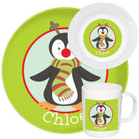 Red Nose Penguin Melamine Set