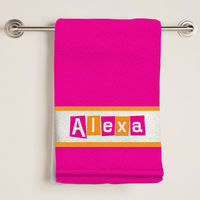 Letter Shapes Fuchsia Bath Towel