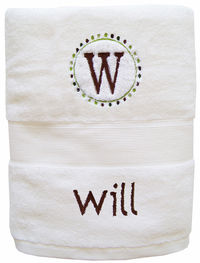 Initial Brown Embroidered Towel