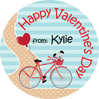 Bicycle Path Valentine's Stickers