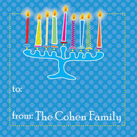 Abstract Menorah Gift Stickers