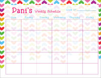Lined Hearts Weekly Calendar