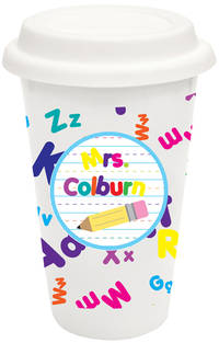 Crazy Alphabet Covered Ceramic Tumbler