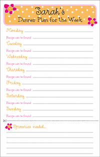 Orange Pink Mini Stripes Menu Pad