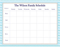 Blue Hues Chevron Weekly Calendar