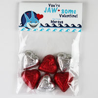 Shark Bite Valentines Candy Bag Toppers
