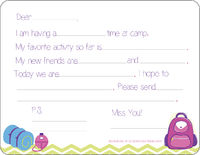 Camp Supplies Girl Camp Fill-in Card