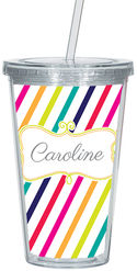 Candy Stripes Clear Acrylic Tumbler