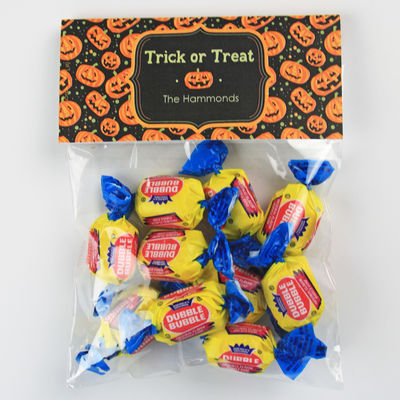 Carved Pumpkin Candy Bag Toppers