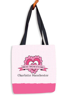 Doodle Hearts Banner Tote Bag