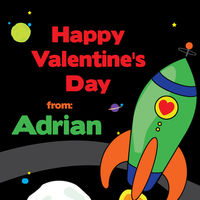 Space Rocket Valentine's Stickers