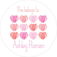 Scribble Hearts Round Gift Stickers