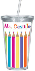 Color Pencils Clear Acrylic Tumbler