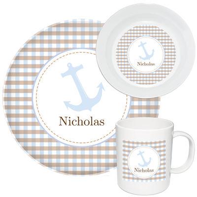 Blue Anchor Melamine Set  sc 1 st  Script and Scribble & Blue Anchor Melamine Set   Kids Dinnerware   Personalized Plastic Plates