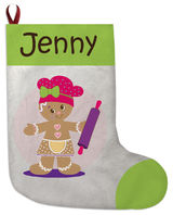 Gingerbread Dots Girl Christmas Stocking