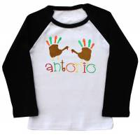 Hand Turkeys Boy Embroidered Ringer Shirt