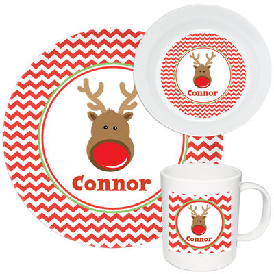 Chevron Reindeer Melamine Set | Custom Kids Dinnerware | Christmas Gifts