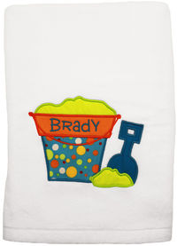 Beach Bucket Embroidered and Applique Beach Towel