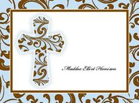 Blue Filigree Cross Card NC543
