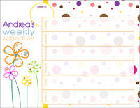 Dotted Flowers Weekly Calendar