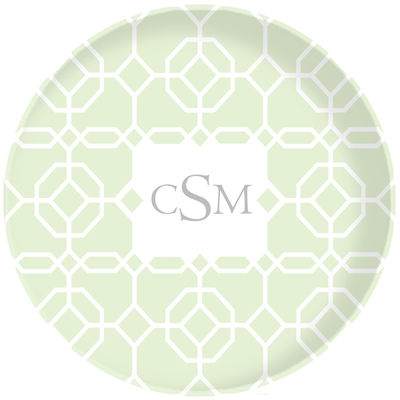 Sage Geo Plate Adult Melamine Plates Personalized