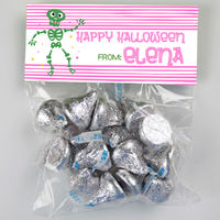 Green Skeleton Candy Bag Toppers