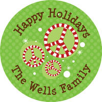 Candy Cane Peace Gift Stickers