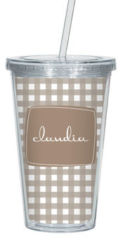 Cocoa Gingham Clear Acrylic Tumbler