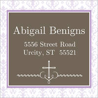 Fancy First Lavender Return Address Label