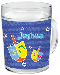 Colorful Dreidels Clear Acrylic Mug
