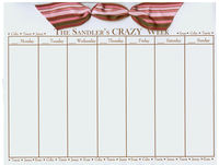 Pink and Brown Bow Name Border Calendar R-97