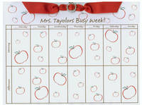 Red Apple Ribbon Slide Calendar Pad