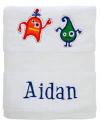 Cute Monsters Embroidered and Applique Towel