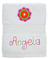 Dotted Flowers Embroidered and Applique Towel