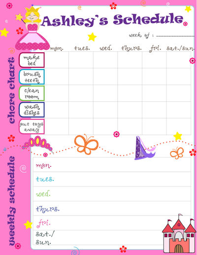 Kids Weekly Calendar : Personalized princess weekly calendar schedule pad kids