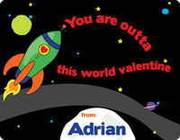 Space Rocket Valentine's Card