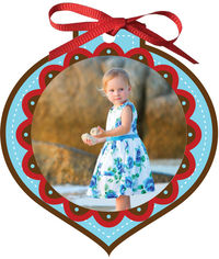 Crimson Scallops Ornament Card
